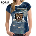 FORUDESIGNS T Shirt Women 3D CAT Lover Pattern T-Shirt for Ladies Summer Short Sleeve Casual Tops Tee Shirts Plus Size XS-XXL