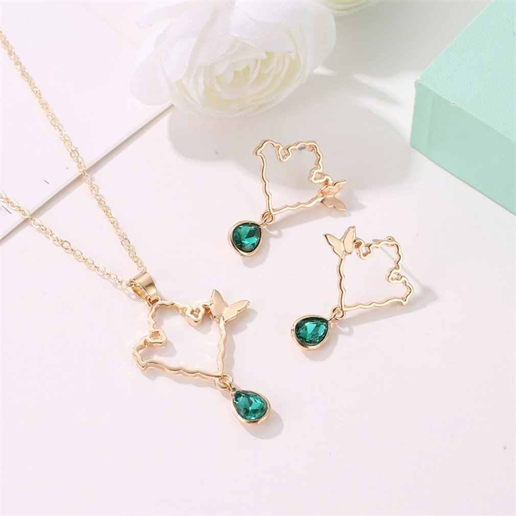 2PCS/SET Hollow Out Butterfly Style Earrings + Necklace For Women Trendy Earrings Fine Jewelry for Party Christmas Gifts
