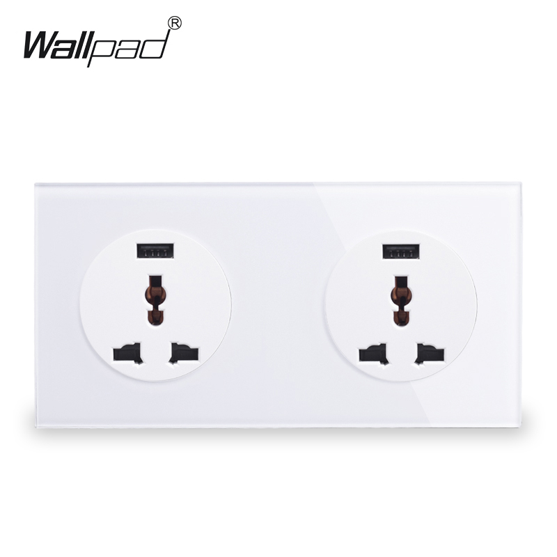 Wallpad UK EU Double Universal Plug Wall Socket Power Outlet With Dual 2.1A USB Ports, White Tempered Glass Panel 172*86mm uk standard wall mounting hole socket ac 110 250v 10a us uk eu au plug tempered glass panel wall outlet