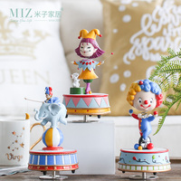 Miz 1 Piece Birthday Gift Music Box Rotating Figure Colorful Circus Clown High Quality Home Decoration Ornament Gift for Kids