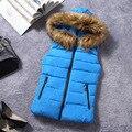 Korean style 2016 Fur Collar Women Vest Down Hooded Waistcoat Winter Autumn Jacket Sleeveless Coat Female Casual Outwear 1825