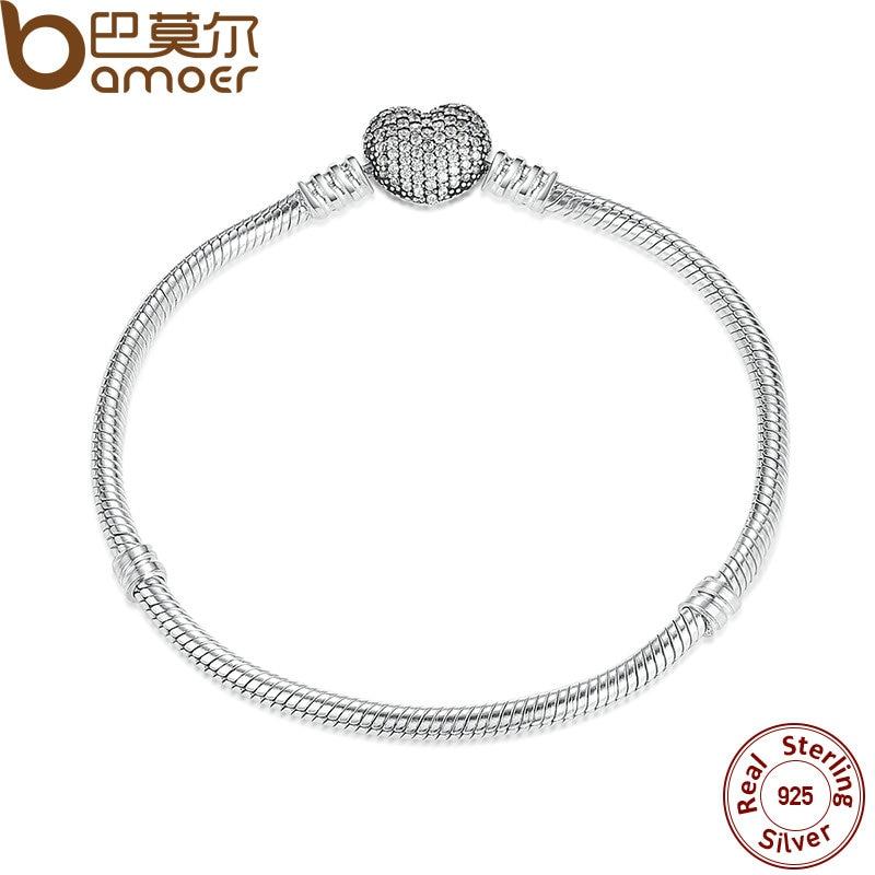 BAMOER Authentique 925 Coeur En Argent Sterling Chaîne Serpent Bracelet et Bracelet 17 cm 18 cm 19 cm 20 cm bijoux PAS906