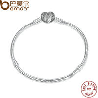 BAMOER Authentic 925 Sterling Silver Love Heart Chain Snake Bracelet Bangle 17CM 18CM 19CM 20CM Jewelry