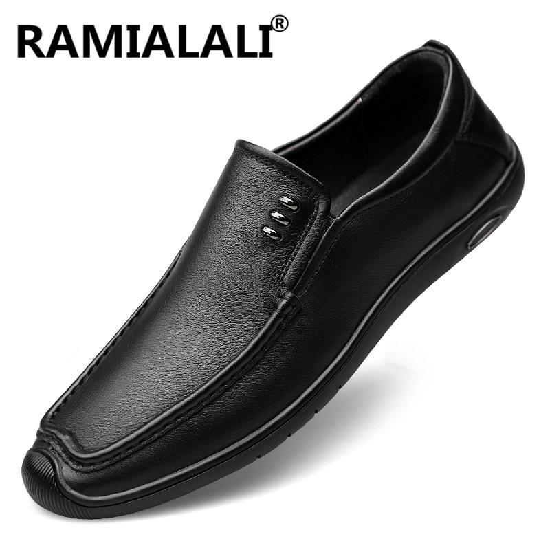 Preto On Sapatos De Flats Size Calçados Luz Masculinos Plus Casuais Barco Mocassins Slip Genuíno Condução Para Homens Couro Moda 4qFFwzU
