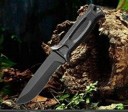 Cuchillo de hoja fija VOLTRON 12c27 mango de fibra de vidrio de hoja de acero ABS, cuchillo de caza de vaina de Nylon herramienta de supervivencia para acampar al aire libre
