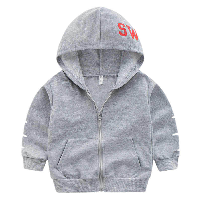Spring Autumn Baby Outwear Children Boy Coat Girl Fashion Clothes Kids Letter Printing Hole Hooded Sweatershirt Toddler Jacket