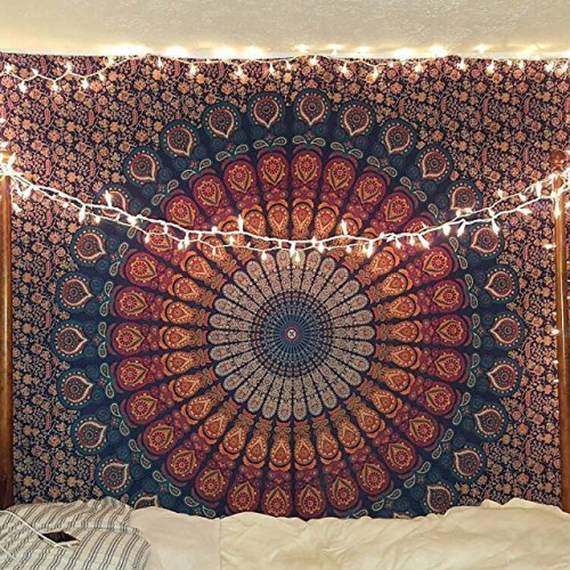 Indian Hippie Bohemian Psychedelic Peacock Mandala Wall Hanging Bedding Tapestry Decorative Tapestries     - title=