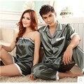 Pijamas de Satén De Seda ropa de Dormir de Verano de Las Mujeres Aman a Los Hombres Pareja de Dormir Pijamas de Las Señoras de Los Pijamas de la Honda de Las Mujeres Pijamas Set
