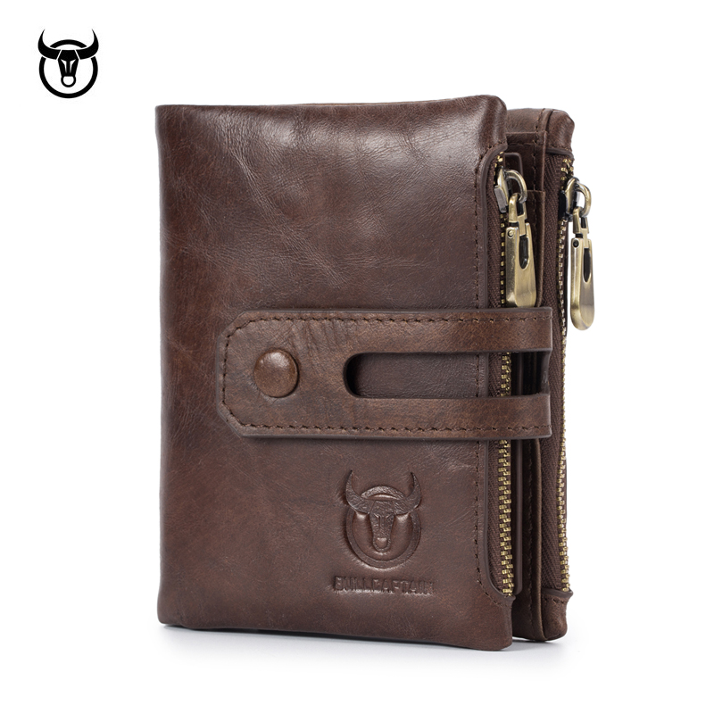 New Genuine Leather Men's Wallet Crazy Horse Cowhide Man Zipper Coin Purse Brand Male Credit&id Multifunctional Wallet