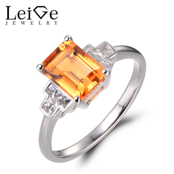 Leige Jewelry Natural Citrine Rings Engagement Rings Emerald Cut Yellow Stone 925 Sterling Silver Fine Jewelry Gifts for Women