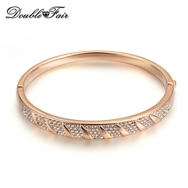 DFB024 Simple Style Rose Gold Plated  Charm Bracelets & Bangles Fashion Cubic Zirconia Jewelry For Women Gift Crystal Bangle