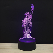 USA Statue of Liberty 3D LED lamp Night Light baby 7 colors children nightlight drop shipping LAMP gifts famous scenery souvenir