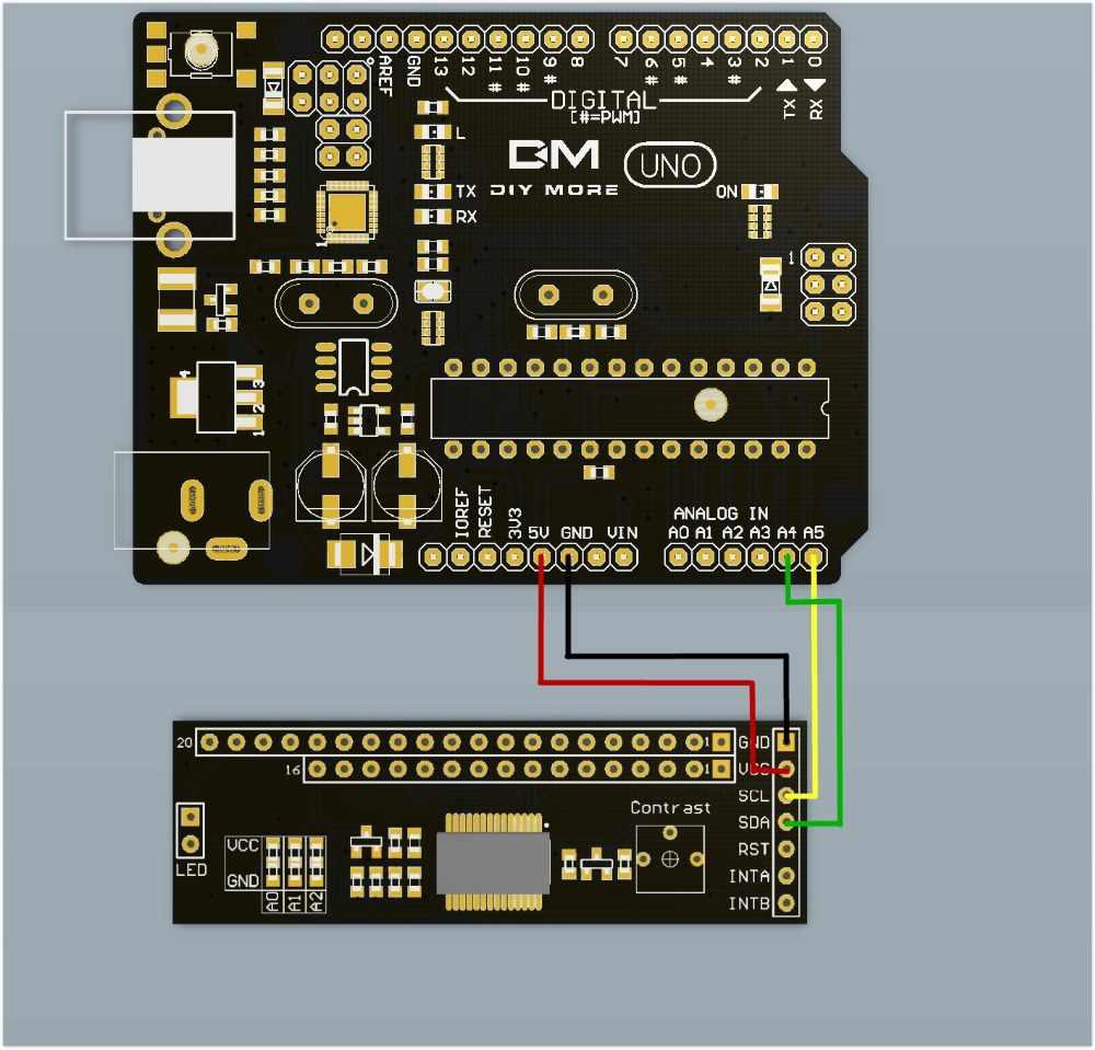 MCP23017 IIC I2C SPI Module série 128*64 LCD 1602/2004/12864 1602LCD MCP23017 carte adaptateur réglage du contraste pour Arduino