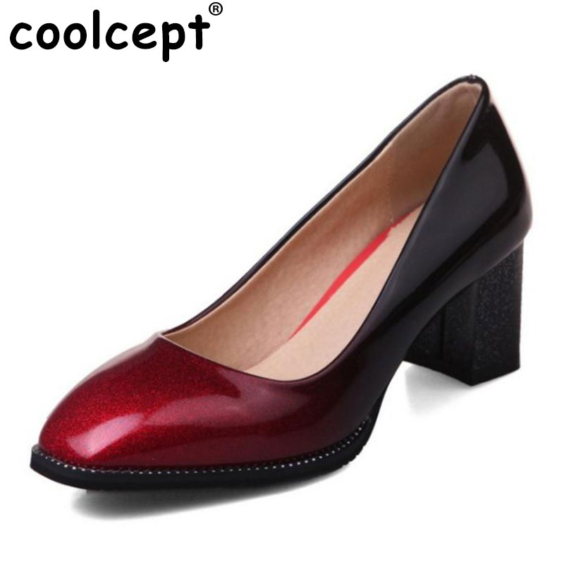 Coolcept Size 32-44 Lady High Heels Pumps Square Toe Pure Color Thick High Heeled Shoes Women Soft Office Lady Mature Footwears kemekiss size 32 45 women concise pumps square toe high heels shoes solid office lady thick heel pump party wedding footwears