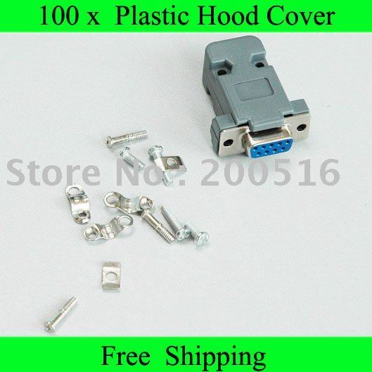 Tracking number +Free Shipping New Plastic Hood Cover+Screws+D9 male or female connector for 9Pin or 15Pin D-Sub DB9 DB