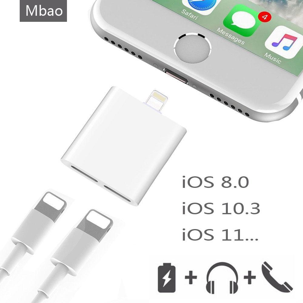 10 шт./оригинальный чип аудио Зарядное устройство двойной адаптер для <font><b>iPhone</b></font> x <font><b>7</b></font> 8 Plus для наушники гарнитура музыка звонок зарядное устройство за&#8230;