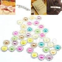 40pcs 4pcs Pack Rhinestone Imitation Pearl DIY Round Button Sewing Craft For Wedding Embellishment Free Shipping