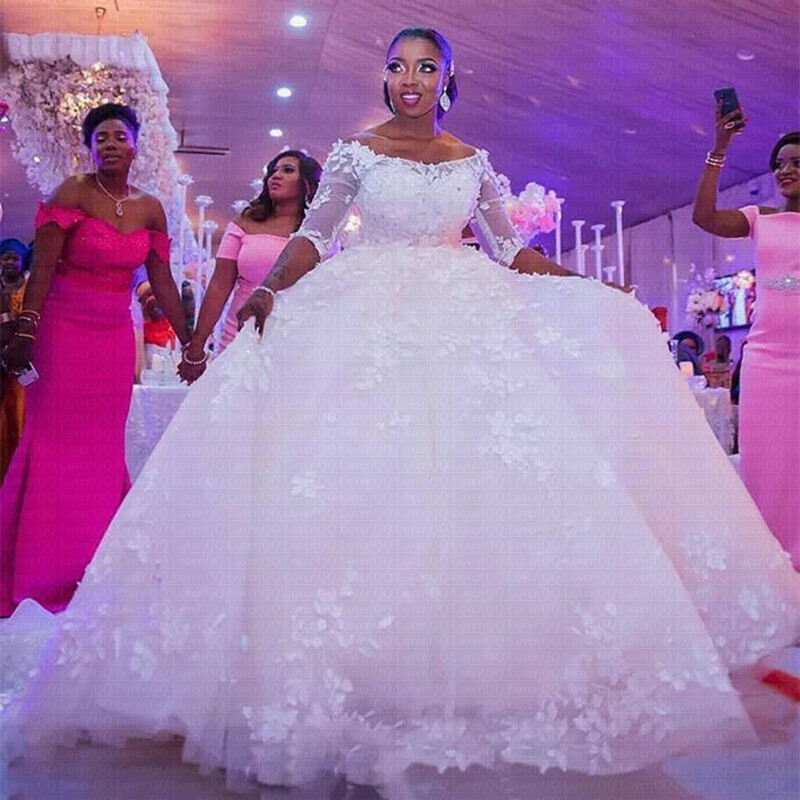 New African Ball Gown Wedding Dress 2019 Off The Shoulder Elegant Lace Wedding Gown