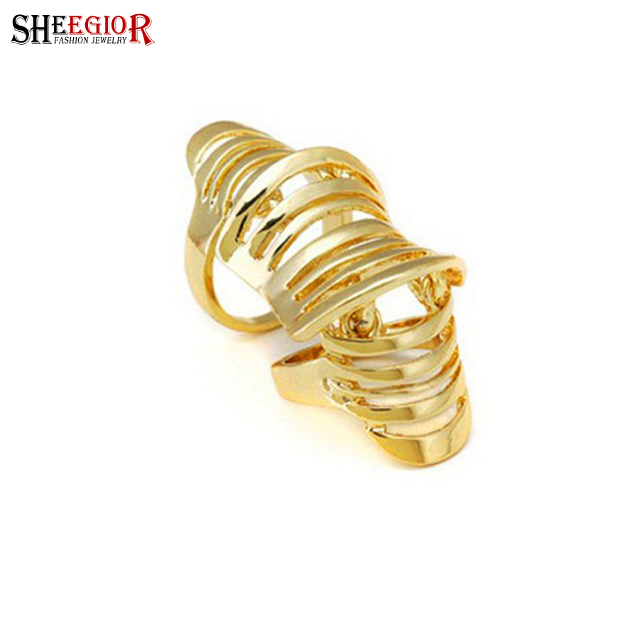Brand Gold Silver Color hollow rings for women fashion jewelry punk Double loop ring men wedding party Accessories bijoux femme