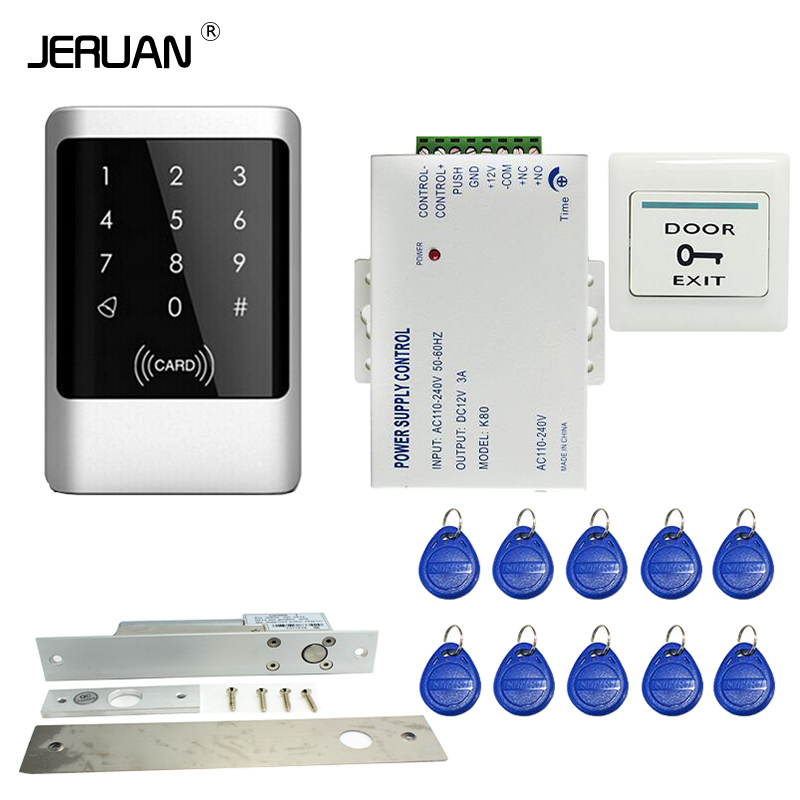 JERUAN Waterproof Rfid Door Access Control Kit Set With Electric Drop Bolt Lock + 10 RFID keyfob Card In Stock FREE SHIPPING digital electric best rfid hotel electronic door lock for flat apartment