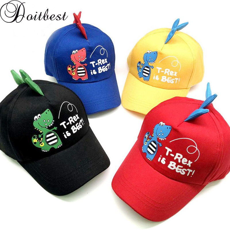Doitbest 2-8 Years old Spring Children   Baseball     Cap   Boys Girls Dinosaur style Snapback adjustable Kids Hip Hop Hat Sun   cap
