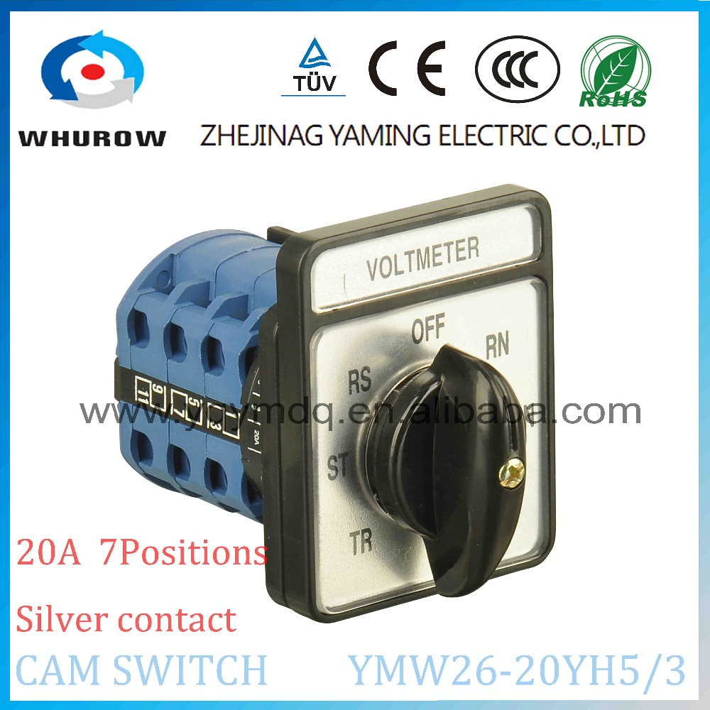 7 position selector switch Voltmeter CA10 20A 3 poles 7 position rotary switch YMW26-20YH5/3 silver contact  universal switch 660v ui 10a ith 8 terminals rotary cam universal changeover combination switch