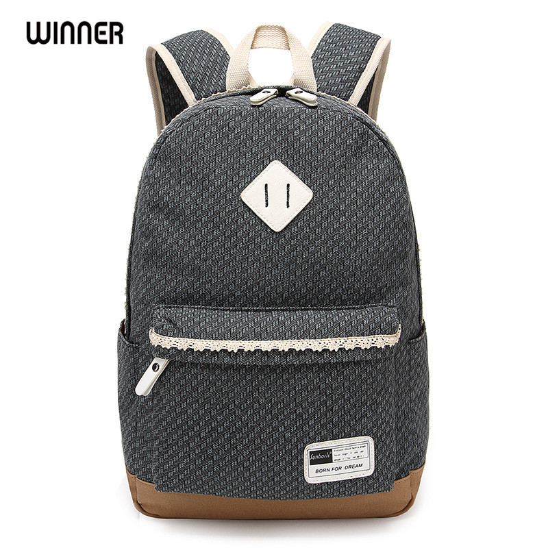Winner Brand Fashion Women Canvas Lace Backpack Bag School for Teenagers Vintage Laptop Backpack Rucksack winner brand preppy style lace women backpacks school canvas dot printing backpack for teenagers girl laptop bag rucksack