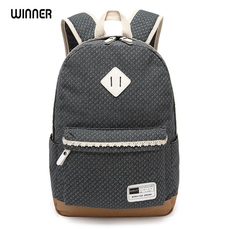 Winner Brand Fashion Women Canvas Lace Backpack Bag School for Teenagers Vintage Laptop Backpack Rucksack