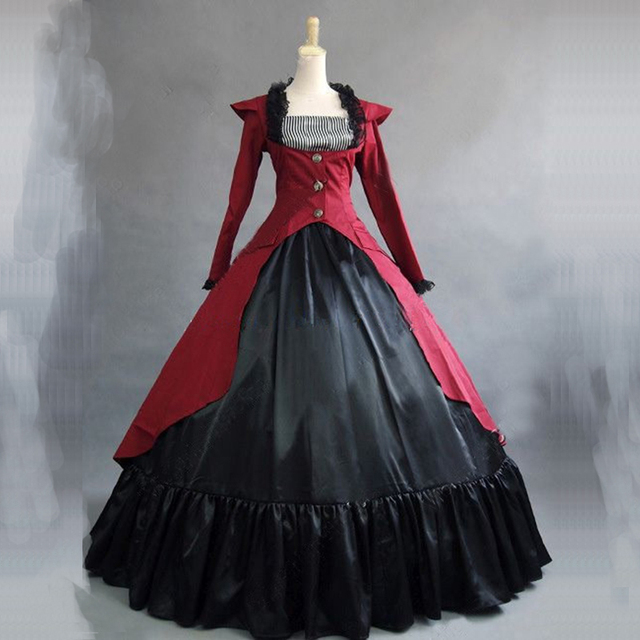 3 Colors Victorian historical Party Princess Dress Renaissance Long Sleeve Southern Belle Masquerade Ball Gowns For Women 2018