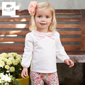 DB3459 dave bella primavera outono nova gola peter pan menina boutique t camisa roupas infantis meninas T-shirt bonito do bebê t da menina tops