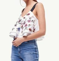 WISHBOP NEW 2017 WHITE TOPS V Neck Double Layered With Flowers Embroidered Black Straps Sleeveless Camis