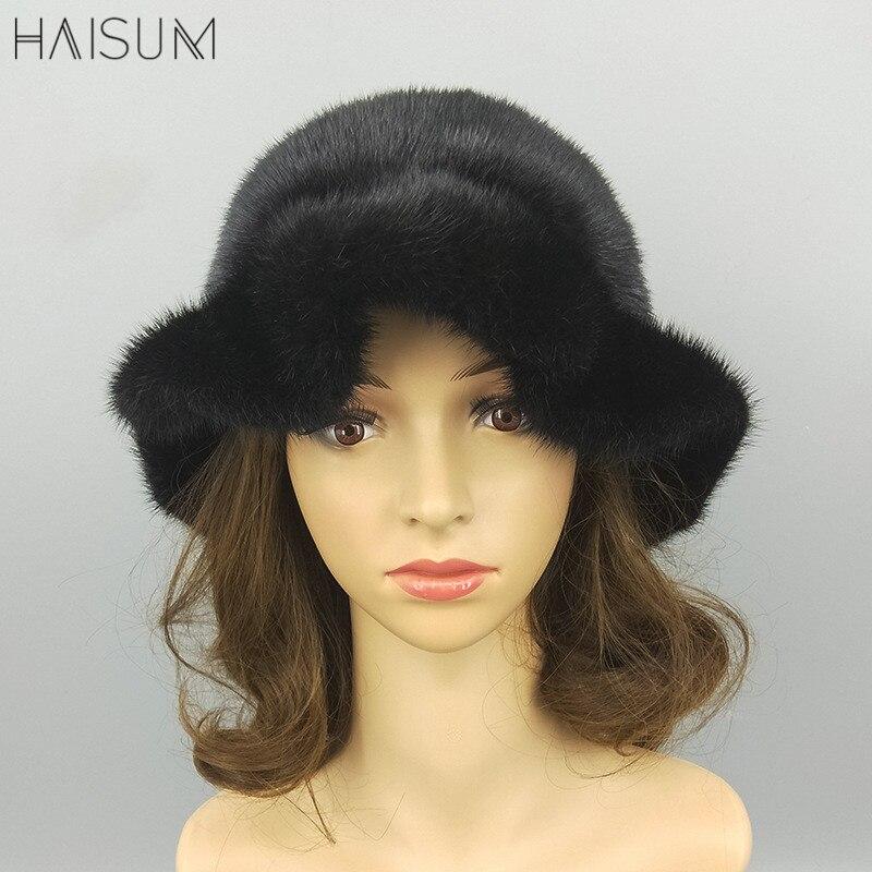 Nachdenklich Neue Winter Nerz Hut Mz11 Heller Glanz Warme Krempe Kappe Koreanische Hut Ganze Nerz Hut Damen