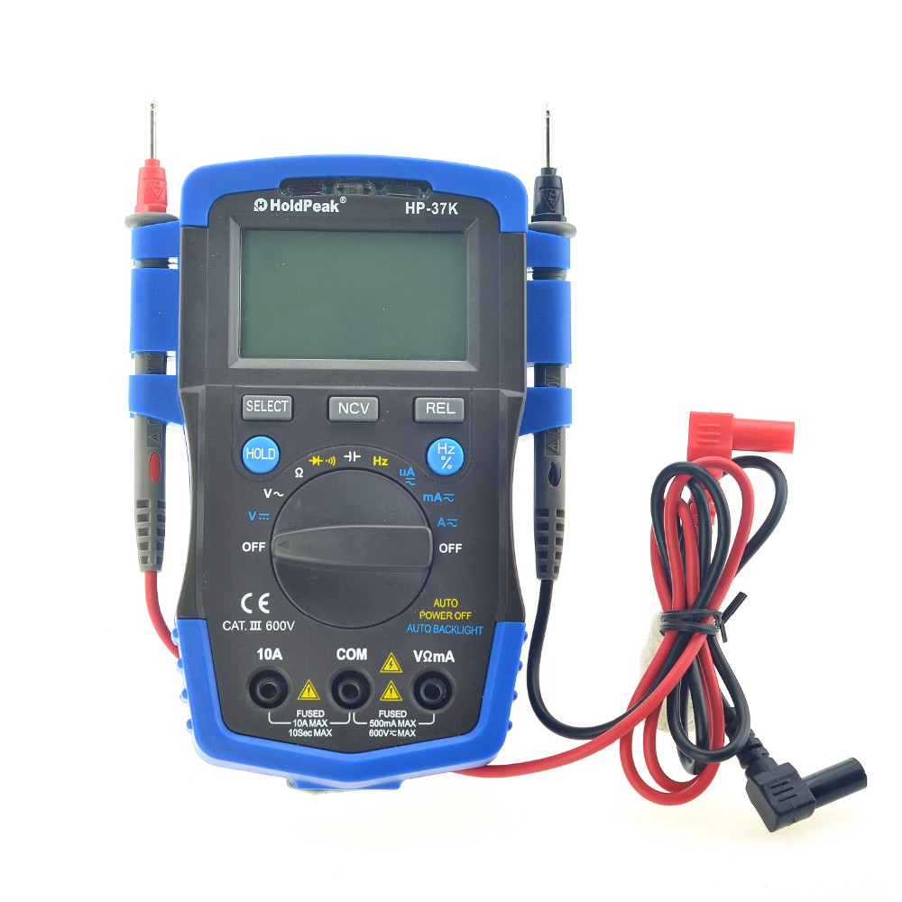 2017 Limited Mini Multimetro Digital Holdpeak Hp-37c Auto Range True Rms Multimeter Temperature Capacitance Test And Backlight mini multimeter holdpeak hp 36c ad dc manual range digital multimeter meter portable digital multimeter