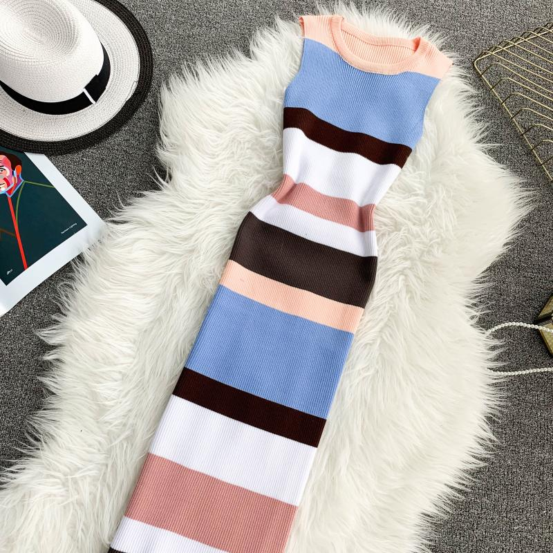 ALPHALMODA Horizontal Striped Hit Color Ladies Casual Summer Knit Tank Dress Pullovers Stretchy Slim Ladies Mid-calf Vestidos 15