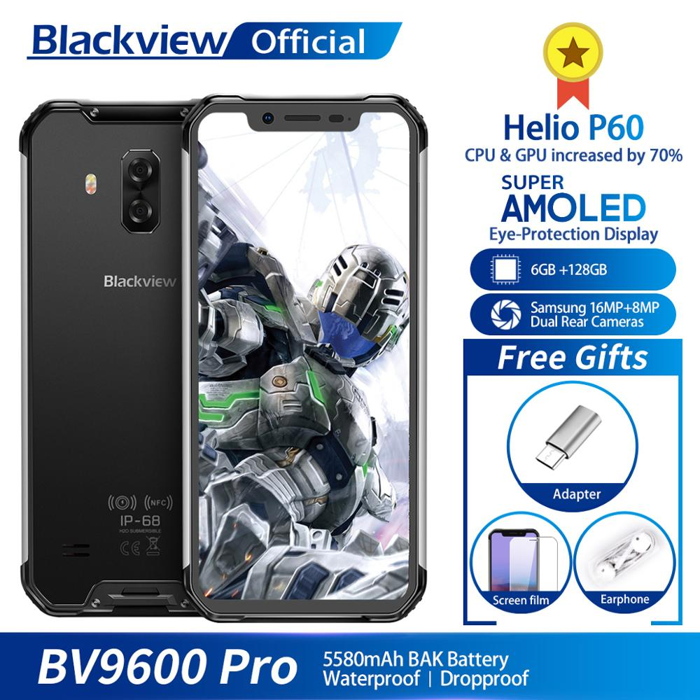 "Blackview BV9600 Pro IP68 Waterproof Mobile Phone Helio P60 6GB+128GB 6.21"" 19:9 AMOLED 5580mAh Android 9.0 Rugged Smartphone"