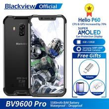 """البلاكفيو BV9600 برو IP68 مقاوم للماء الهاتف المحمول هيليو P60 6GB + 128GB 6.21 """"19:9 AMOLED 5580mAh أندرويد 9.0 هاتف ذكي متين"""