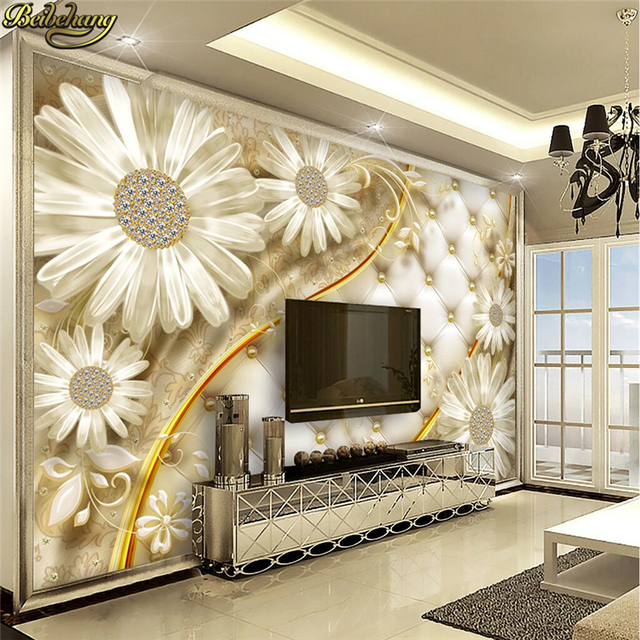 Beibehang transparent flowers luxury jewelry background wall custom photo wallpaper large mural wall stickers papel de