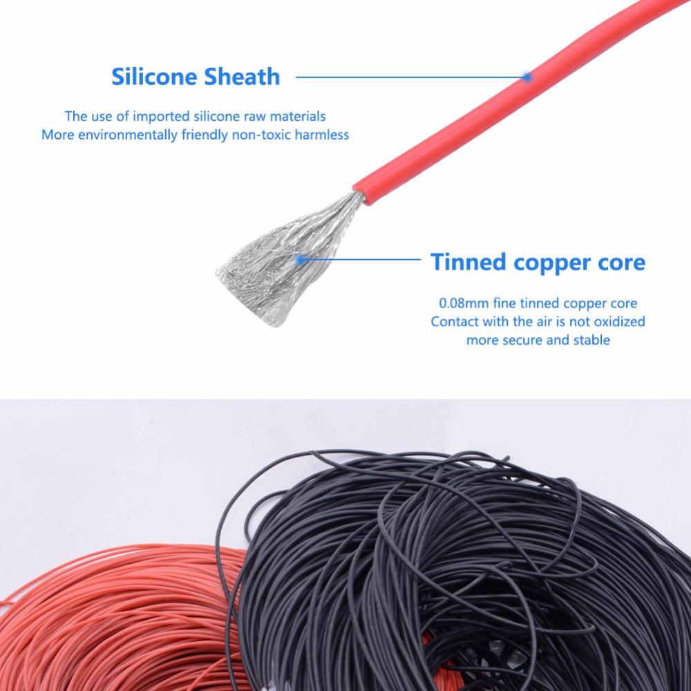 10 Meters/Lot 14 16 18 20 Gauge AWG Flexible Rubber Cable Silicone ...