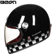 цена на BEON Helmet Full Face helemt Carbon Fiber Motocross Helmet Vintage Motorcycle Helmet Scooter Autocycle Retro Ultralight ECE