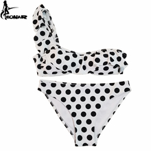 EONAR Bikini 2019 One Shoulder Women Swimsuit Print Dot Push Up Bikini Set Ruffle Vintage Bandeau Swimwear Bathing Suits все цены
