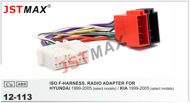 jstmax 12-113 iso auto radio wiring harness for hyundai / kia wire cable stereo  wiring f-harness adapter connector adaptor