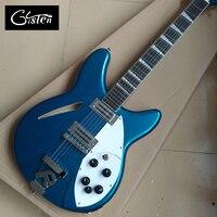 Neue stil hochwertige 12 saiten e-bass, ebenholz griffbrett metallic blue e-gitarre, freies verschiffen