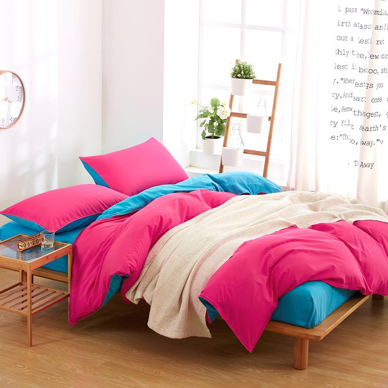Pillowcase Bedding-Set Duvet-Cover-Set Custom Flat-Sheet King-Queen Double-Color Special