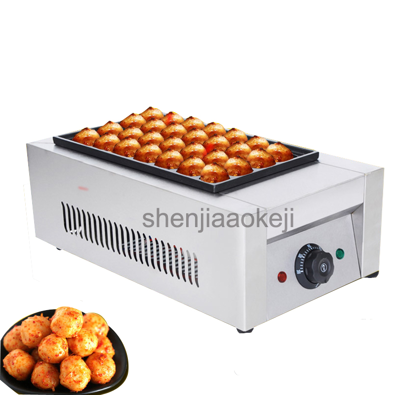 все цены на 1pc220v Professional electric Octopus Ball Machine non-stick pan fish ball furnace Commercial single board octopus balls machine онлайн