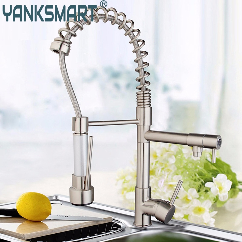 все цены на Kitchen Faucet Modern Kitchen Faucet Luxury Double Spouts Pull Down Spray Torneira Faucet Vessel Sink Mixer Tap