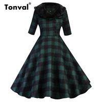 Tonval Green Plaid Dress Women Vintage Style Half Sleeve Fur Turn Down Collar Winter Elegant Party