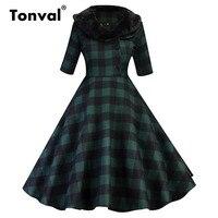 Tonval Fur Collar Plaid Green Vintage Dress Gingham Women Autumn Party Dress Elegant Retro A Line Winter Dresses