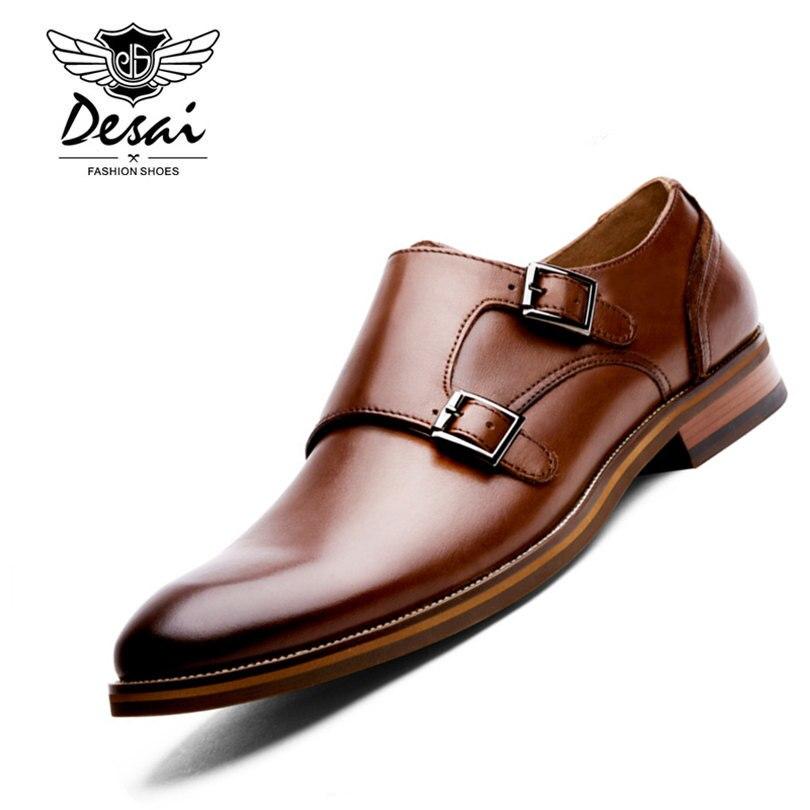 DESAI Marca Hombres Zapatos de Cuero Genuino Negro Marrón Vestido Formal Doble H