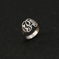 Custom Name Monogram Ring 925 Solid Silver 3 Initals Fashion Men Ring Personalized Fashion Name Ring Wholesale