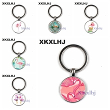 XKXLHJ New Arrived Flamingo Key Ring Art Pictures Glass Cabochon Pendant Keychain Animal Birds Car Bag Key Chain Lovely Jewelry цена и фото
